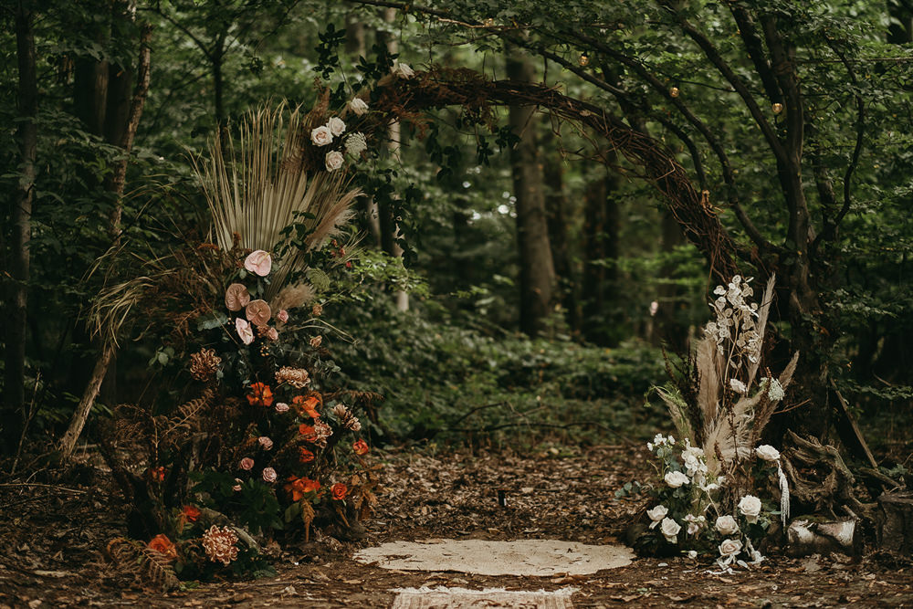 Flower Arch Moongate Backdrop Woods Wedding Tom Jeavons Photography