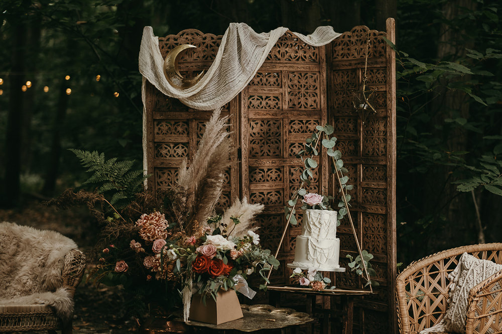 Cake Table Backdrop Woods Wedding Tom Jeavons Photography
