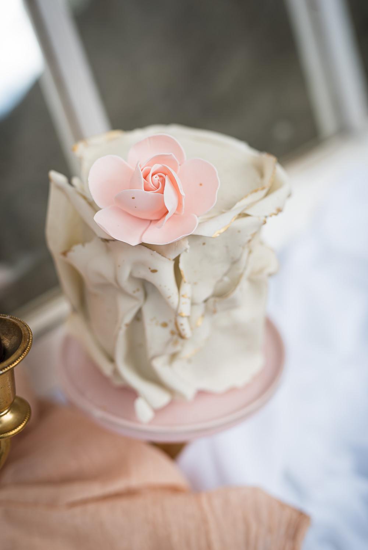 Ruffle Cake Pink Flower Barn Elopement FJS Wedding Photography
