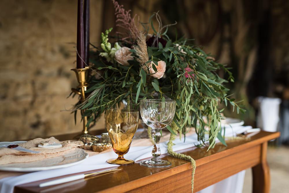 Centrepiece Flowers Greenery Rose Dahlia Pampas Grass Barn Elopement FJS Wedding Photography