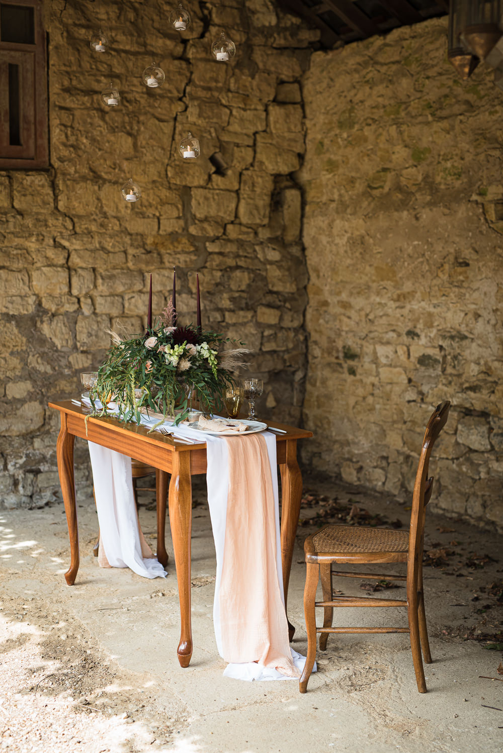 Table Tablescape Decor Pink Silk Candles Barn Elopement FJS Wedding Photography