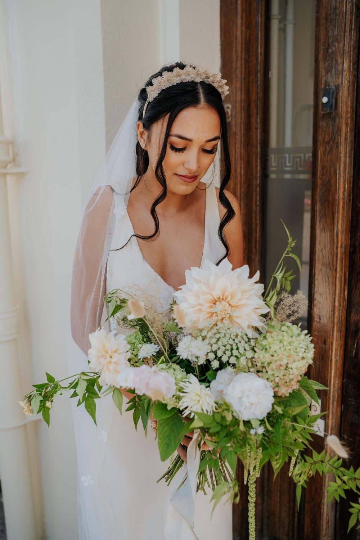 Bouquet Flowers Bride Bridal Dahlia Hydrangea Rose Greenery Brighton Town Hall Wedding Bloom Weddings