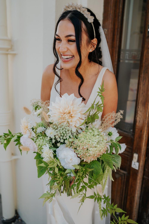 Headdress Accessory Bouquet Flowers Bride Bridal Dahlia Hydrangea Rose Greenery Brighton Town Hall Wedding Bloom Weddings