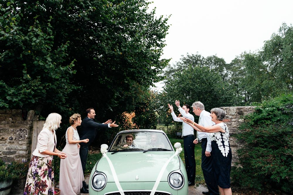 Mint Retro Car Transport Covid Real Wedding Holly Bobbins Wedding Photographer