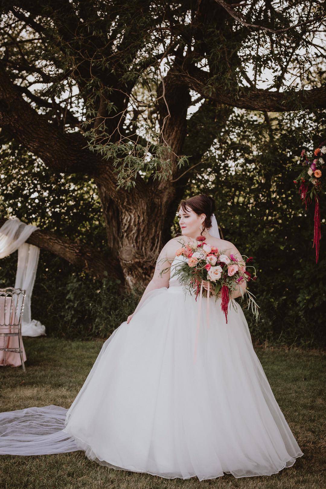Fairytale Forest Wedding Christina W Kroeker Creative Dress Gown Bride Bridal Strapless Tulle Veil