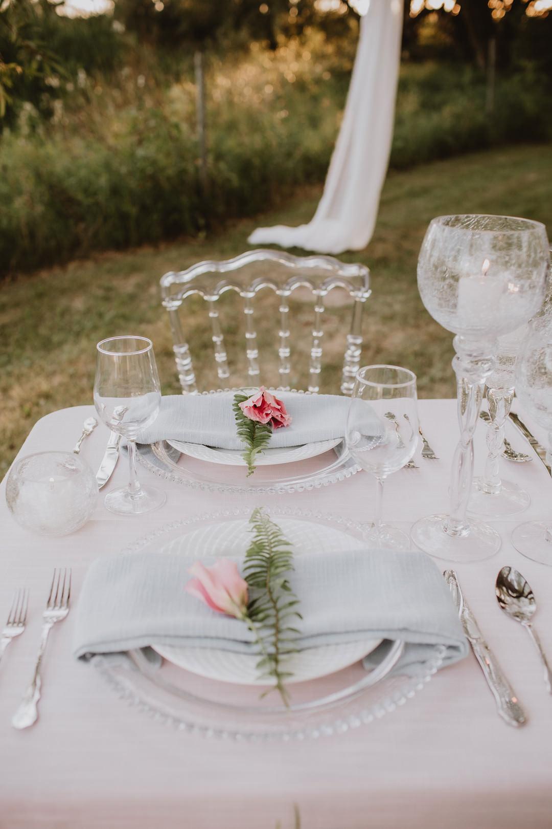 Place Setting Decor Pink Rose Fairytale Forest Wedding Christina W Kroeker Creative