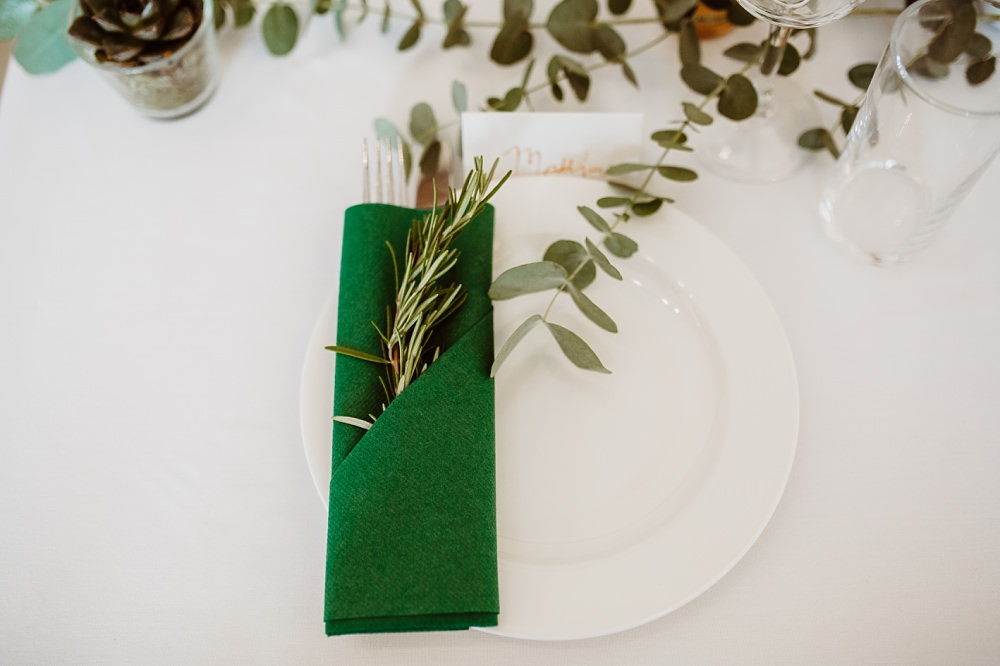 Place Setting Green Napkin Rosemary Greek English Wedding Holly Collings Photography