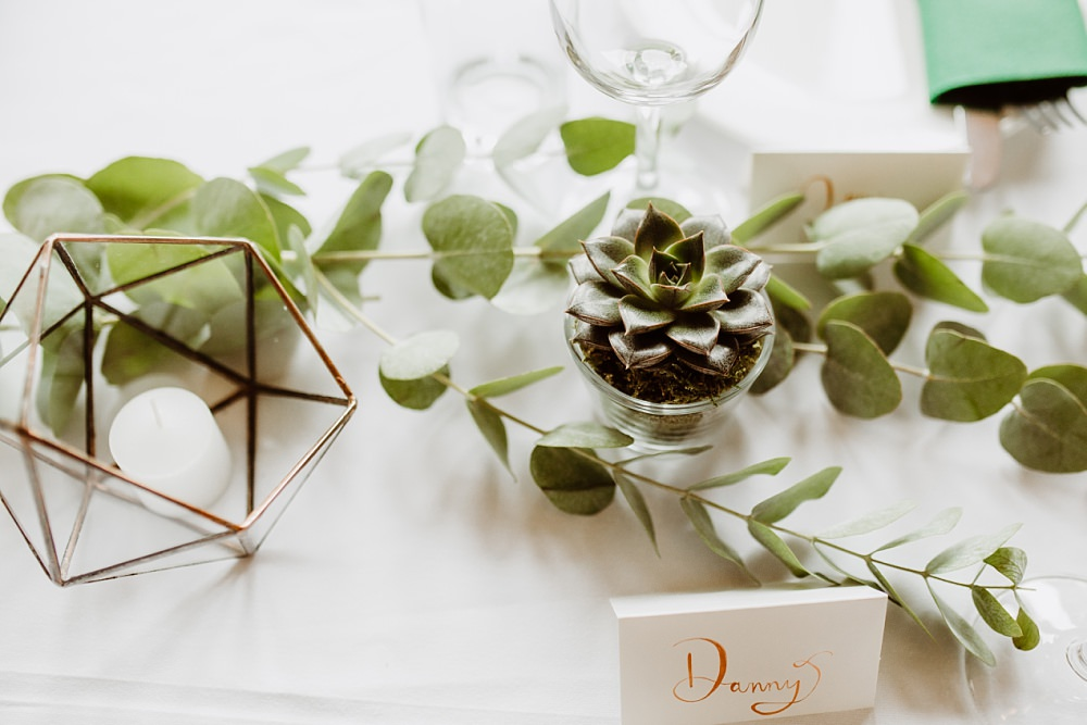 Decor Table Greenery Succulent Terrarium Candle Greek English Wedding Holly Collings Photography