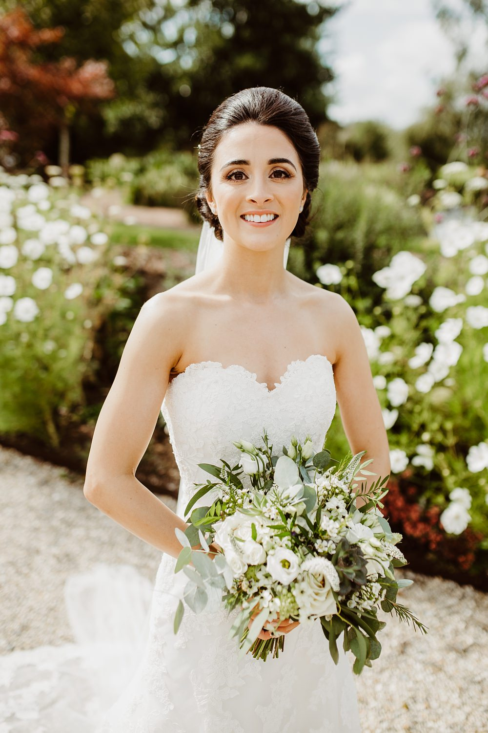 Bride Bridal Dress Gown Sweetheart Strapless Lace Greek English Wedding Holly Collings Photography