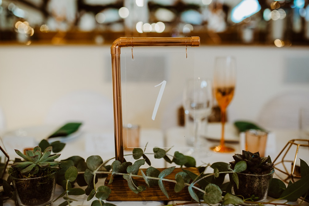 Table Name Number Copper Pipe Glass Greek English Wedding Holly Collings Photography