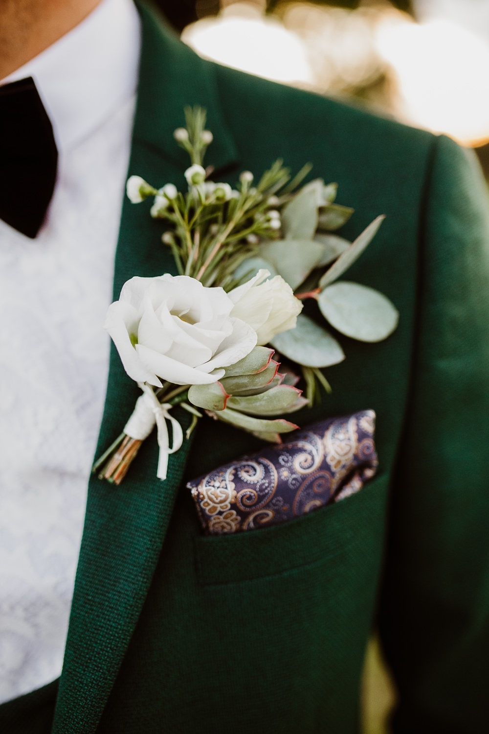 Green Suit Groom Groomsmen Bow Tie Buttonhole Flowers Greek English Wedding Holly Collings Photography