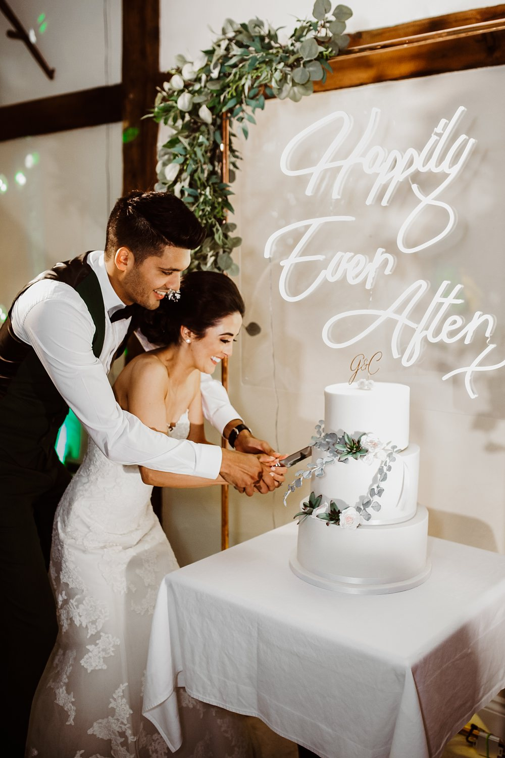 Cake Table Neon Sign Signs Signage Clear Perspex Acrylic Greenery Greek English Wedding Holly Collings Photography