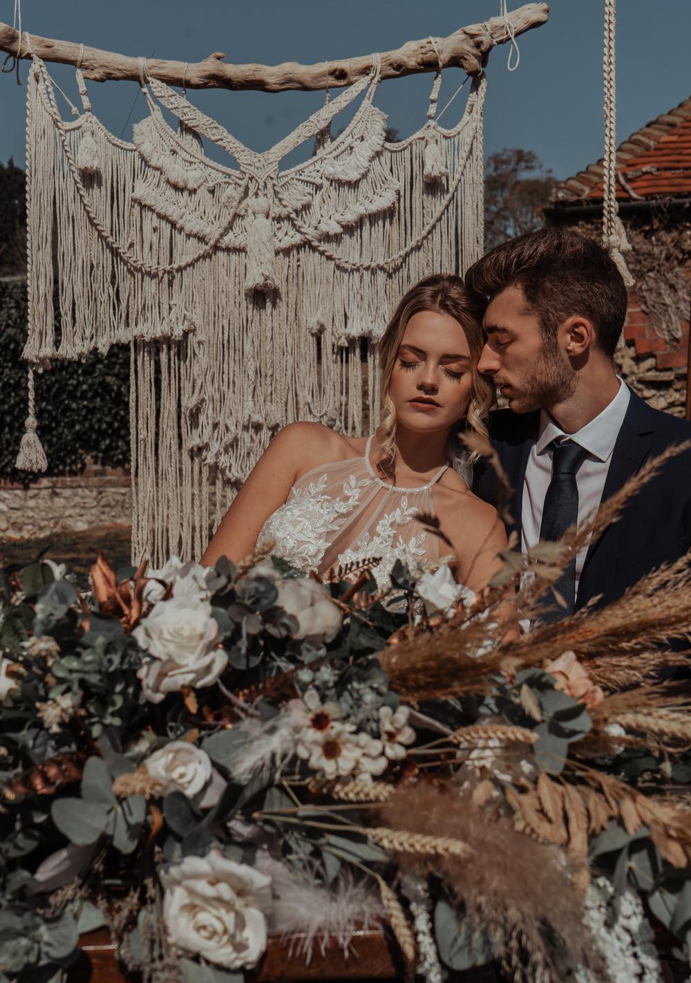 Intimate Wedding Ideas Imogen Eve Photography Outdoor Reception Macrame Backdrop Rustic Wooden Tables Decor