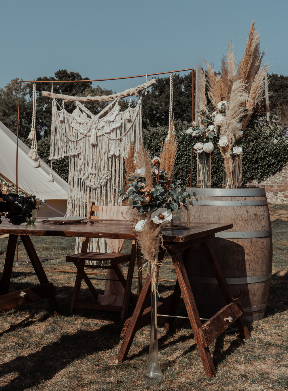Outdoor Reception Macrame Backdrop Rustic Wooden Tables Decor Intimate Wedding Ideas Imogen Eve Photography