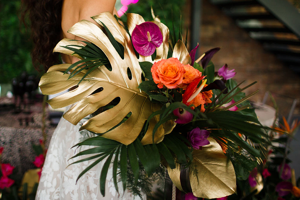 Bouquet Flowers Bride Bridal Tropical Gold Palms Foliage Pink Orange Flamingo Jungle Wedding Ideas Terri Pashley Photography