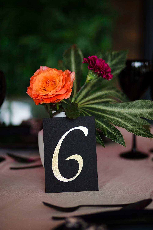 Table Number Black Gold Jungle Wedding Ideas Terri Pashley Photography