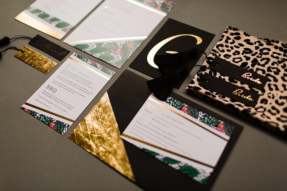 Stationery Invite Invitation Leopard Print Tassel Black Gold Jungle Wedding Ideas Terri Pashley Photography