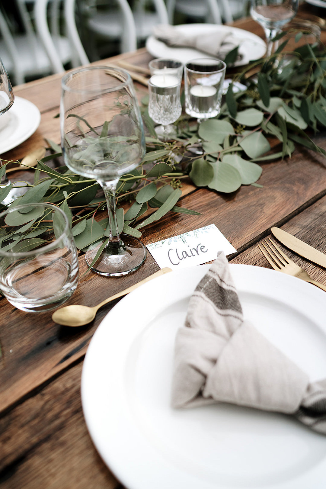 Table Setting Napkin Decor Greenery Mountain Elopement Petite Visuals