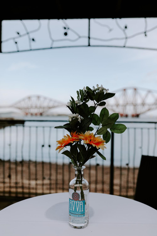 Centrepiece Flowers Bottle Orocco Pier Wedding Meggy Mac Photography