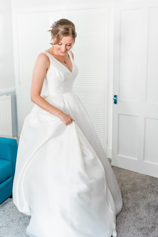 Dress Gown Bride Bridal Ballgown Pockets Wed2B Scotland Garden Wedding LJ Horton Photography