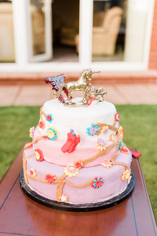 Unicorn Flower Cake Scotland Garden Wedding LJ Horton Photography