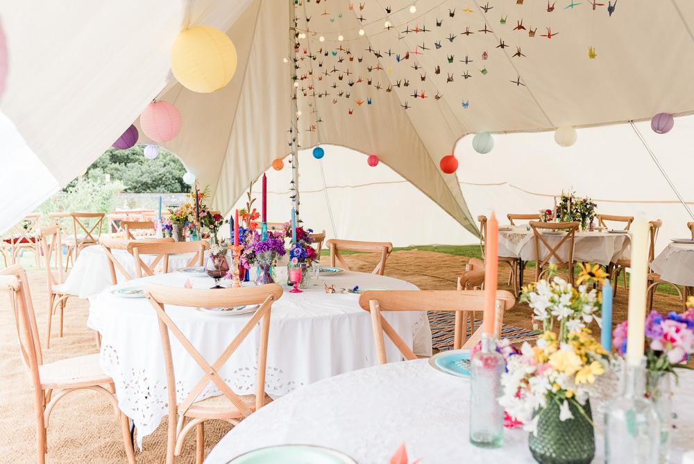 Stretch Tent Origami Paper Cranes Lanterns Decor Reception Scotland Garden Wedding LJ Horton Photography