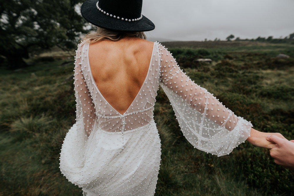 Dress Gown Bride Bridal Long Sleeves Beaded UK Boho Elopement Jenny Appleton