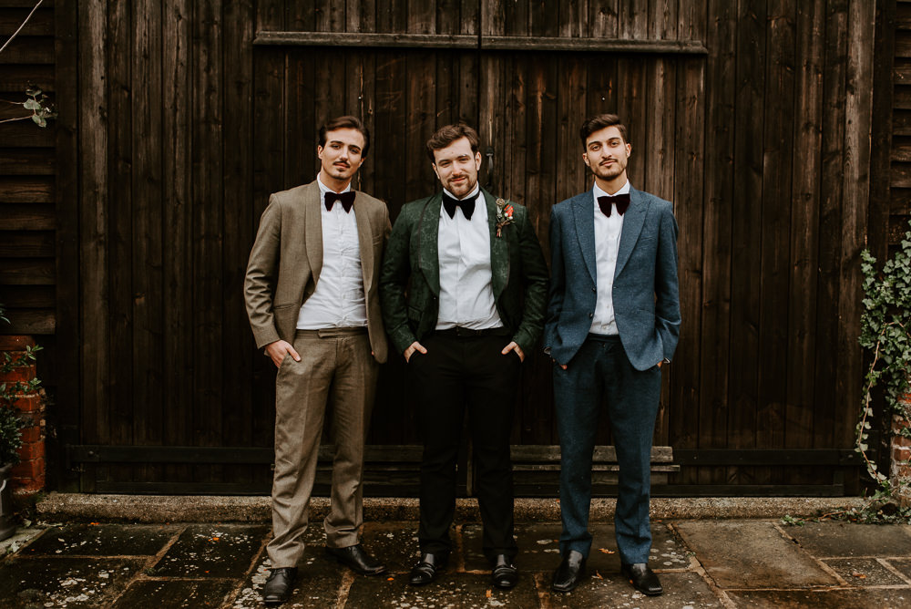 Groom Suit Print Jacket Bow Tie Groomsmen Autumn Wedding Colours Laura Williams Photography