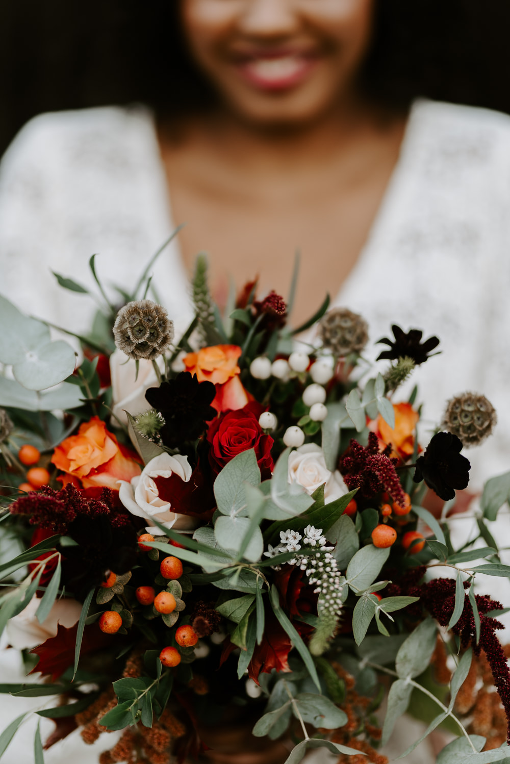 Bouquet Flowers Bride Bridal Eucalyptus Berry Burgundy Orange Autumn Wedding Colours Laura Williams Photography