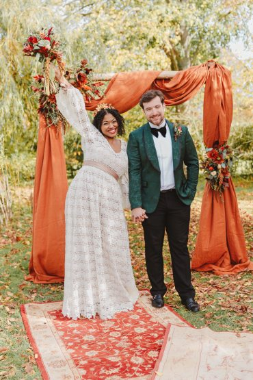 Autumn Wedding Colours Lori Loves Photography Backdrop Fabric Flowers Flower Arch Orange