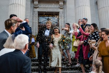 Fun Micro London Town Hall Wedding With a Gold Wedding Dress