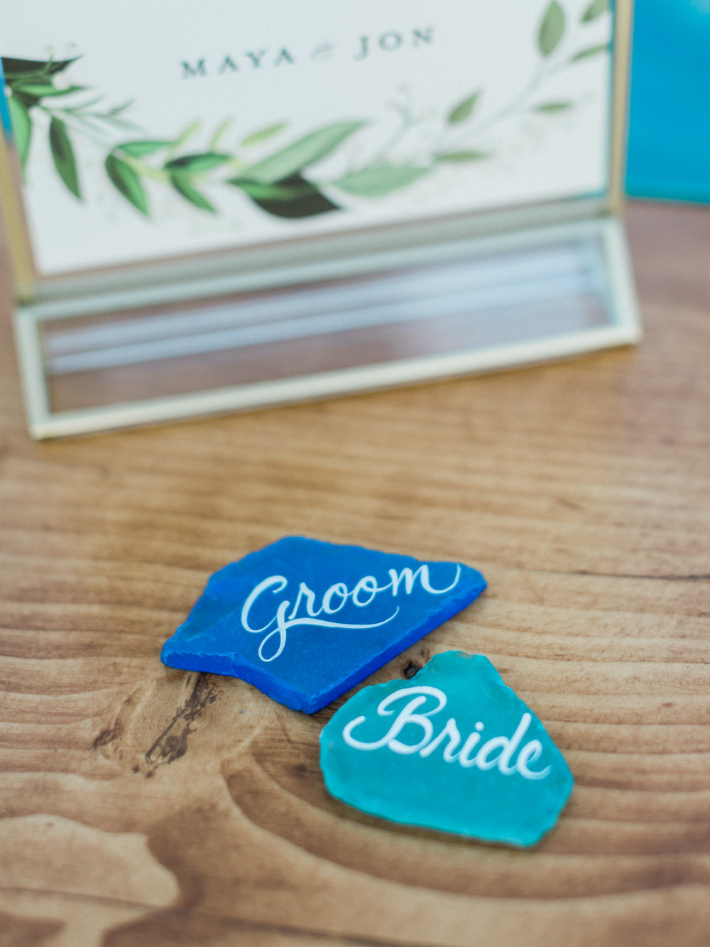 Place Names Blue Calligraphy Pacific Coast Wedding Mallory Miya Photography