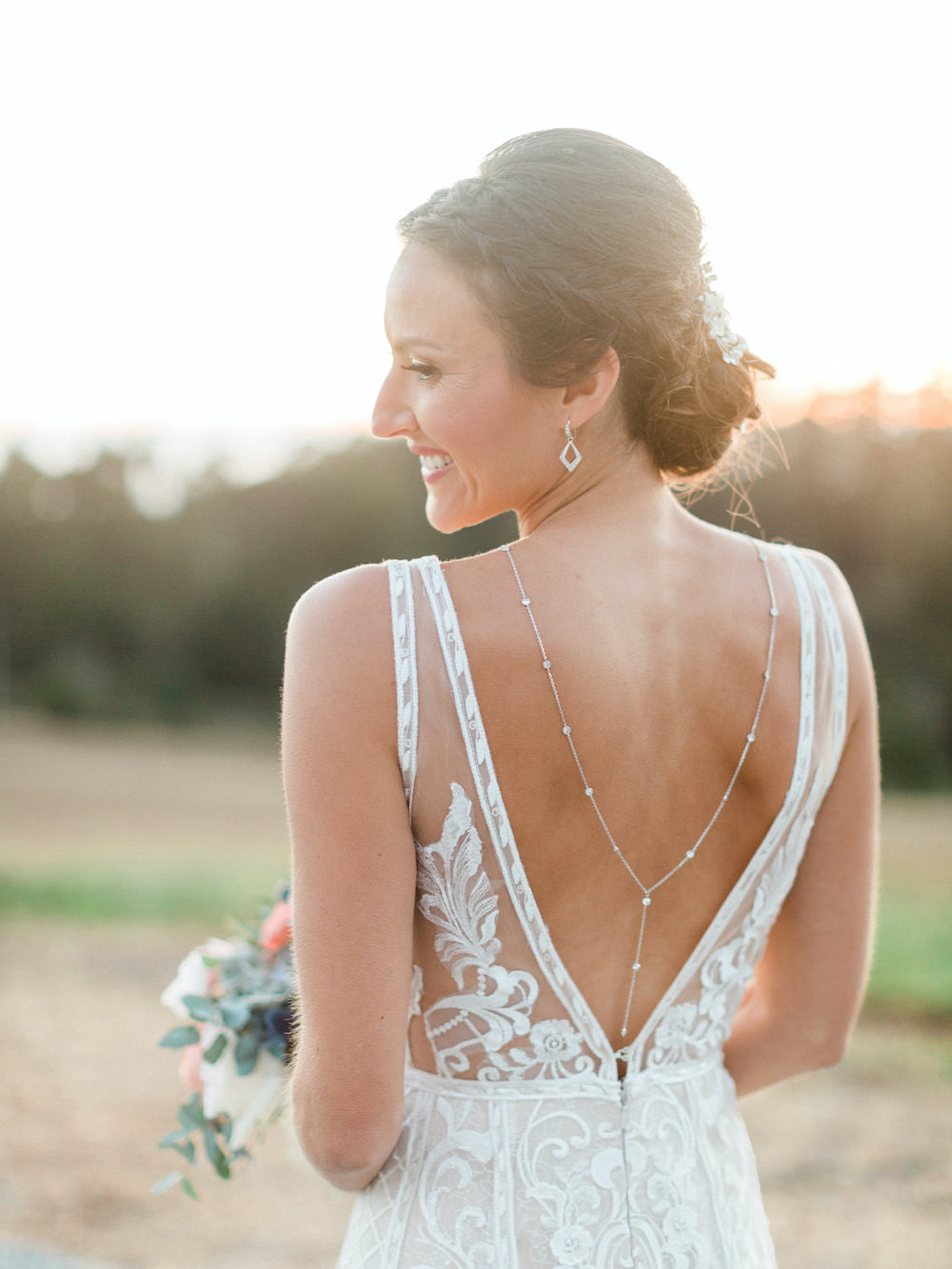 Dress Gown Bride Bridal Lace Back Necklace Pacific Coast Wedding Mallory Miya Photography