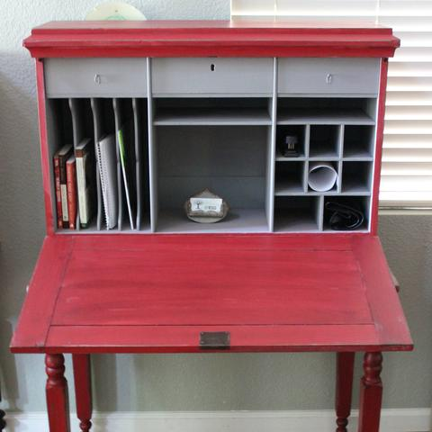red desk with open front