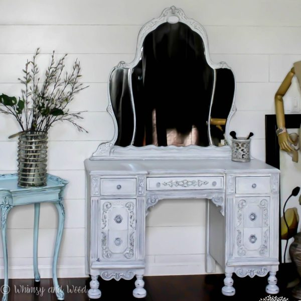 Painted antique vanity white 6