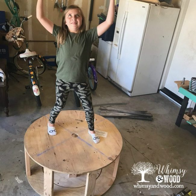 Reclaimed wood coffee table tester