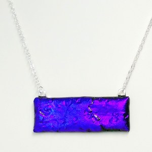 Electric Blue Fused Stained Glass Dichroic Necklace