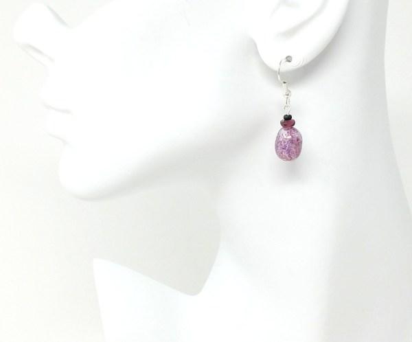purple pressed glass czech earrings