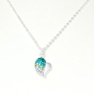 green rhinestone heart