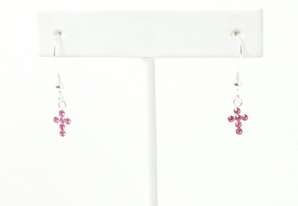 pink swarovski cross earings