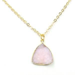 light pink druzy necklace