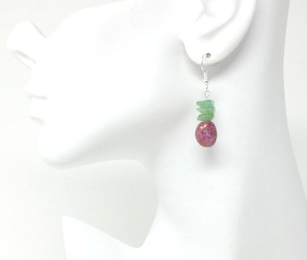 purple and green aventurine earrings