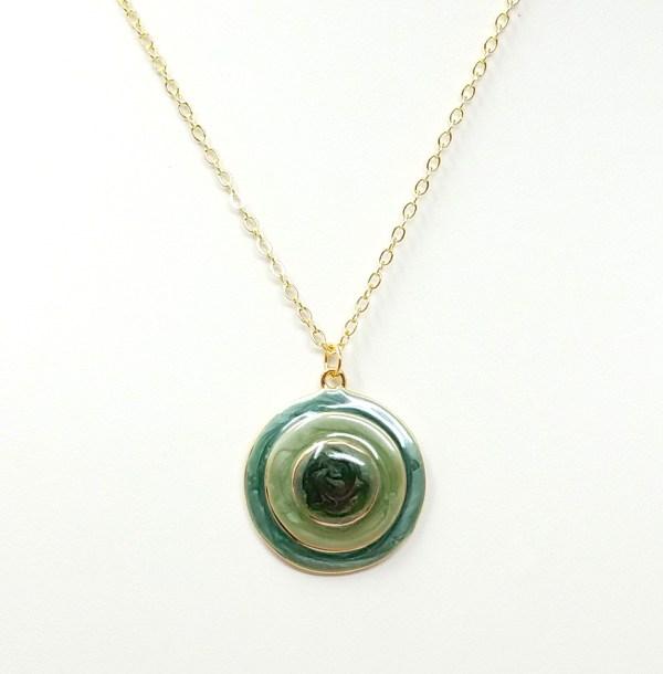 Green Enamel Concentric Circles Necklace