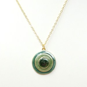 Green Enamel Concentric Circles Necklace