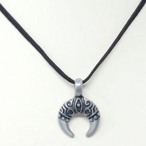 Evil Eye Crescent suede necklace