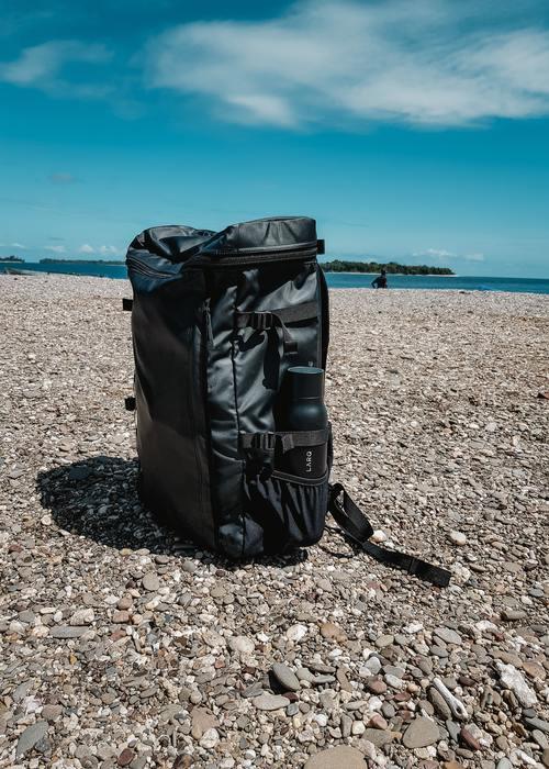 Minimalist Backpack on a Beach
