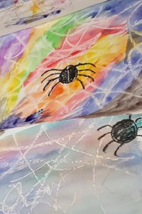 watercolor resist spider webs