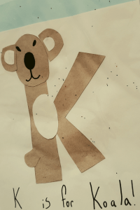 alphabet craft the letter K as a Koala