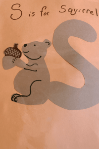 alphabet craft a Squirrel with its tail in the shape of an S