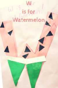 alphabet craft the letter W as a watermelon